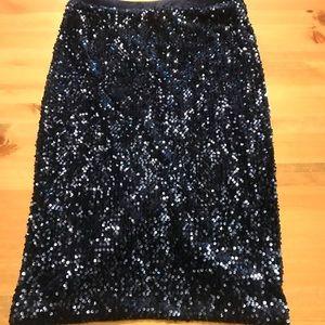 Navy sequins pencil skirt